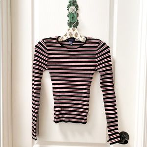 Forever 21 Black and Red Stripe Long Sleeve